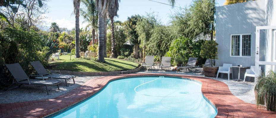 Pool area 1 - Robertson – 4 star Contemporary Boutique Guest House – 7 guestrooms on spacious 2013 m2 double plot offering additional room to expand